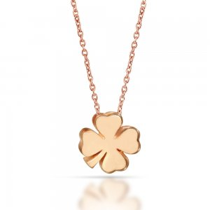 14K Solid Gold Modern Design Clover Necklace