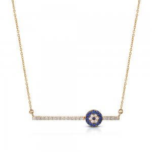 14K Solid Gold Modern Design 3D Bar Evil Eye Cubic Zirconia Necklace