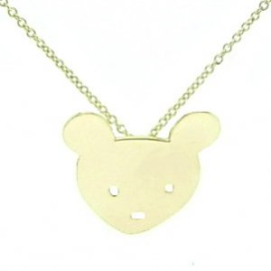 14K Solid Gold Bear Necklace