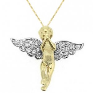 14K Solid Gold Modern Design Angel Cubic Zirconia Necklace