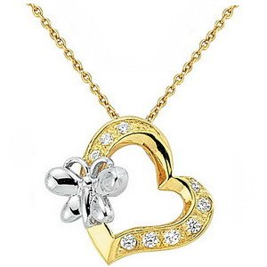 14K Solid Gold Heart Butterfly Cubic Zirconia Necklace