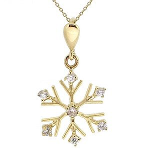 14K Solid Gold Modern Design Snow Flake Cubic Zirconia Necklace