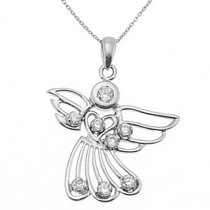 14K Solid Gold Angel Cubic Zirconia Necklace