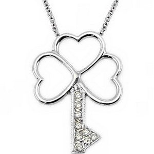14K Solid Gold Key Cubic Zirconia Necklace
