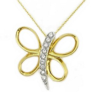 14K Solid Gold Butterfly Cubic Zirconia Necklace