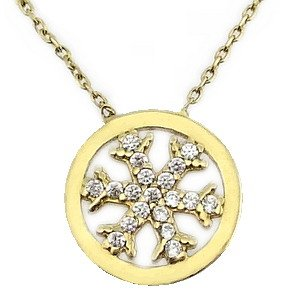 14K Solid Gold Snow Flake Cubic Zirconia Necklace