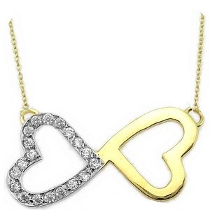 14K Solid Gold Heart Infinity Cubic Zirconia Necklace