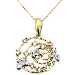 14K Solid Gold Modern Design Butterfly Daisy Cubic Zirconia Necklace