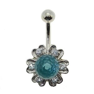14K Solid Gold Flower Cubic Zirconia Piercing