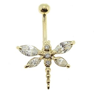 14K Solid Gold Dragonfly Cubic Zirconia Piercing