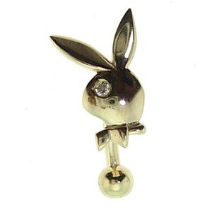 14K Solid Gold Rabbit Cubic Zirconia Piercing
