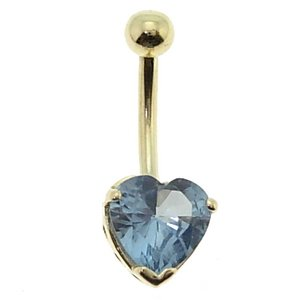 14K Solid Gold Heart Cubic Zirconia Piercing