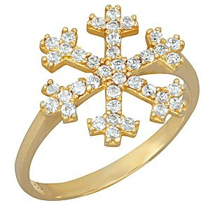 14K Solid Gold Snow Flake Cubic Zirconia Ring