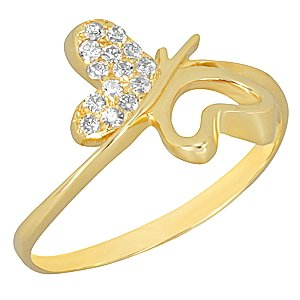 14K Solid Gold Modern Design Butterfly Cubic Zirconia Ring