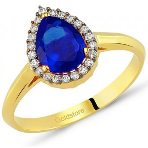 14K Solid Gold Halo Cubic Zirconia Ring