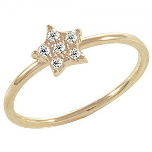14K Solid Gold Modern Design Midi Star Cubic Zirconia Ring