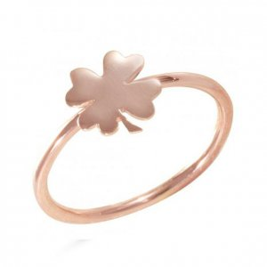 14K Solid Gold Modern Design Midi Clover Ring