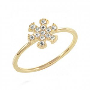 14K Solid Gold Modern Design Midi Snow Flake Cubic Zirconia Ring