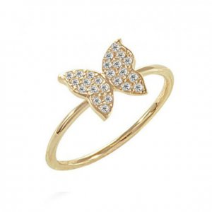 14K Solid Gold Modern Design Midi Butterfly Cubic Zirconia Ring