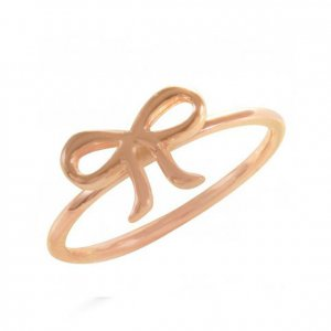 14K Solid Gold Modern Design Midi Bow Tie Ring