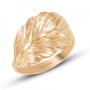 14K Solid Gold Modern Design Leaf Ring