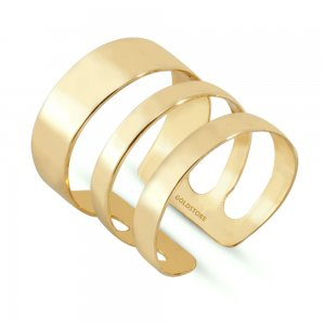 14K Solid Gold Modern Design Midi Ring