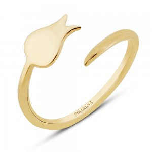 14K Solid Gold Modern Design Midi Tulip Ring