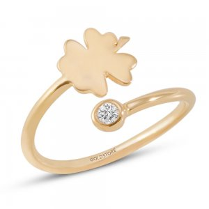 14K Solid Gold Modern Design Midi Clover Cubic Zirconia Ring
