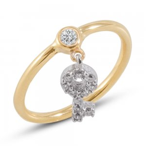 14K Solid Gold Modern Design Midi Key Cubic Zirconia Ring