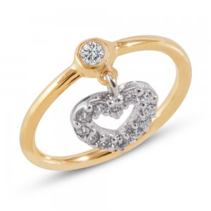 14K Solid Gold Modern Design Midi Heart Cubic Zirconia Ring