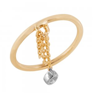 14K Solid Gold Modern Design Midi Cubic Zirconia Ring