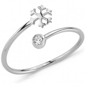 14K Solid Gold Modern Design Snow Flake Cubic Zirconia Ring