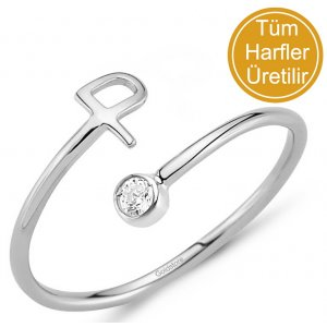 14K Solid Gold Initial Cubic Zirconia Ring