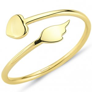 14K Solid Gold Heart Wing Ring
