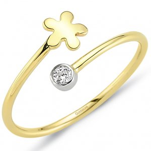 14K Solid Gold Modern Design Daisy Cubic Zirconia Ring