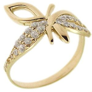 14K Solid Gold Modern Design Dragonfly Cubic Zirconia Ring
