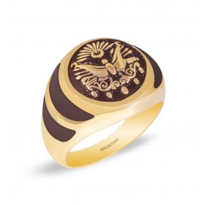 14K Solid Gold Enamel Tugra Ring