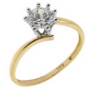 14K Solid Gold Solitaire S Type Cubic Zirconia Ring