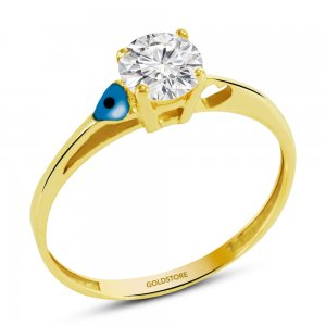 14K Solid Gold Solitaire Evil Eye Classic Cubic Zirconia Ring