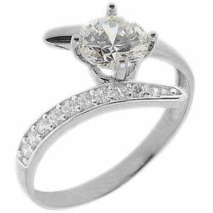 14K Solid Gold Solitaire Sidestones Cubic Zirconia Ring