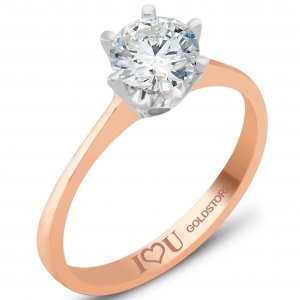 8K Solid Gold Solitaire Cubic Zirconia Ring