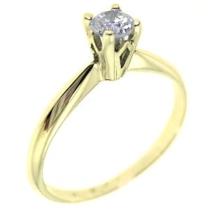 14K Solid Gold Solitaire Cubic Zirconia Ring
