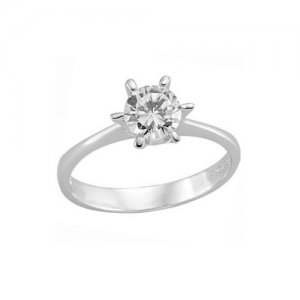 14K Solid Gold Solitaire Classic Cubic Zirconia Ring