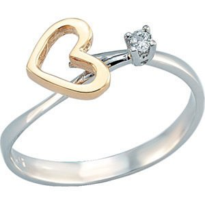 14K Solid Gold Modern Design Heart Cubic Zirconia Ring