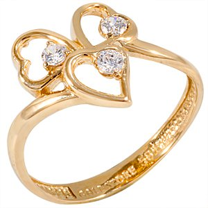 14K Solid Gold 3 Stone Cubic Zirconia Ring
