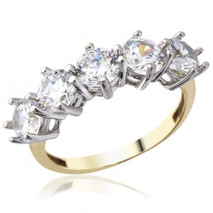 14K Solid Gold 5 Stones Half Eternity Cubic Zirconia Ring