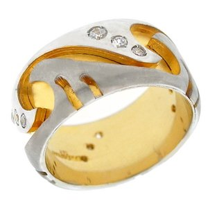 14K Solid Gold Wedding Band Cubic Zirconia Ring