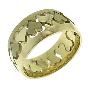 14K Solid Gold Wedding Band Heart Ring