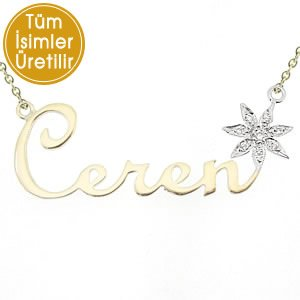 14K Solid Gold Name Flower Cubic Zirconia Necklace