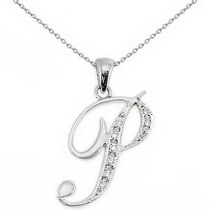 0.05ct. Diamond 14K Solid Gold Initial Necklace